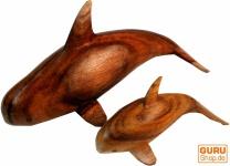 Geschnitzter Deko Wal geschnitzt in 2 Größen