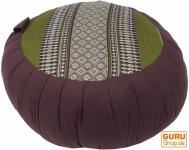 Rundes Meditationskissen Yoga Kissen, Sitzkissen, Bodenkissen, Dekokissen - braun/grün