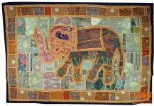Indischer Wandteppich Patchwork Wandbehang, Einzelstück