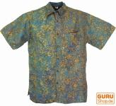 Hippiehemd, Bali - Batik Hemd - olive/türkis