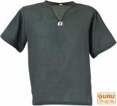 Yoga Hemd, Goa Hemd, Kurzarm, Männerhemd, Baumwollhemd - grau