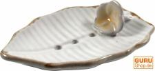 Keramik Seifenschale `Blatt-weiß`