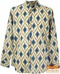 Goa Boho Hemd, Langarm Herrenhemd mit afrikanischem Druck, Stehkragenhemd - marine/sand