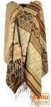 Weicher Pashmina Schal / Stola, Schultertuch - Maya Muster braun/ beige
