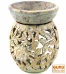 Indische Duftlampe, ätherisches Öl Diffusor, Teelicht Halter für Aromatherapie, Aromalampe aus Speckstein - Rund Blumenranke 2