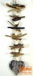 Treibgut Mobile Herz aus Holz und Muschelstücken - Muschel 4