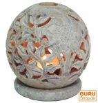 Indisches Duft Potpourri Behälter aus Speckstein, Teelicht - Kugel Blüten