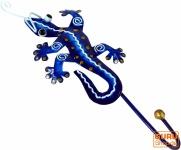 Kleiner Garderobenhaken, Metall Kleiderhaken - Gecko blau