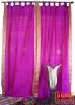 Vorhang, Gardine (1 Paar Vorhänge, Gardinen) aus Sareestoff - pink dunkel