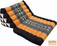 Thaikissen, Dreieckskissen, Kapok, Tagesbett mit 1 Auflage - schwarz/gold