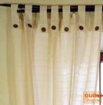 Vorhang, Gardine (1 Paar Vorhänge, Gardinen) mit Kokosholzknöpfen