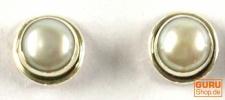 Indische Silber Ohrstecker 2 Perle
