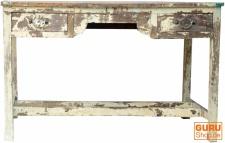 Schmaler Tisch, Flurtisch mit 2 Schubfächern - antikweiß