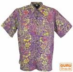 Hippiehemd, Bali - Batik Hemd - flieder/gelb