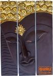 Dreiteiliges Buddhawandbild, dunkelbraun, linksblickend 76*50 cm - Design 15
