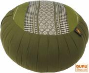 Rundes Meditationskissen Yoga Kissen, Sitzkissen, Bodenkissen, Dekokissen - grün/grau