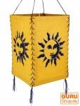 Lokta Papier Hänge-Lampenschirm, Deckenleuchte aus handgeschöpftem Papier - Sonne gelb