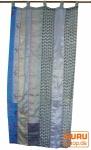 Vorhang (1 Stk.) Gardine aus Patchwork Sareestoff - blau