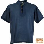 Yoga Hemd, Goa Hemd, Kurzarm, Männerhemd, Baumwollhemd - dunkelblau