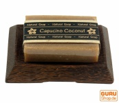 Seifenset Cappuccino, Seife & Kokosholz Seifenschale