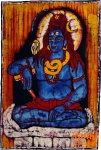 Handgemaltes Batik-Bild, Wandbehang, Wandbild - Shiva