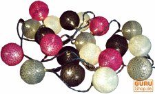 Stoff Ball Lichterkette LED Kugel Lampion Lichterkette - grau/braun/pink