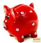Verrückte Sparbüchse aus Holz, von Hand bemalt - Glücks Schwein rot