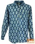 Freizeithemd, Goa Boho Hemd, Langarm Herrenhemd mit afrikanischem Druck - indigo