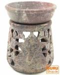 Indische Duftlampe, ätherisches Öl Diffusor, Teelicht Halter für Aromatherapie, Aromalampe aus Speckstein - Rund Ganesha