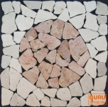 Mosaikfliese mit Kreis aus Marmor (Mo-09) - Design 22