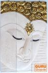 Dreiteiliges Buddhawandbild, antikweiß, rechtsblickend, 76*50 cm