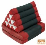 Thaikissen, Dreieckskissen, Kapok, Tagesbett mit 2 Auflagen - rot/schwarz