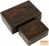 Beschnitzte Holzdose, Schatztruhe in 2 Größen - Gecko