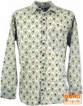 Goa Boho Hemd, Langarm Herrenhemd mit afrikanischem Druck - sand