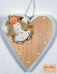 Christbaumschmuck Herz mit Schutzengel in 3 Farben
