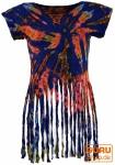 Batik Hippie T-Shirt mit Fransen - blau