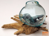 Wurzelholz Vase XS - Glasdurchmesser bis 10 cm