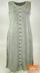 Besticktes indisches Boho Hippie Kleid, grau - Design 1