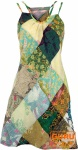 Minikleid, Patchworkkleid, Sommerkleid, Trägerkleid, kurzes Kleid - grün/bunt