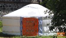 Original Mongolische Jurte, Nomaden Zelt mit Schafwolle Isolierung Ø 6 m