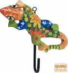 Bunter Holzkleiderhaken, Wandhaken, Kleiderhaken - Gecko 1