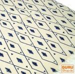 Hangewebter Blockdruck Teppich aus natur Baumwolle mit traditionellem Design - weiß/blau Muster 2