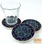 Orientalischer Keramikuntersetzer, runder Untersetzer für Gläser und Tassen mit Mandala Motiv Set - Muster 1