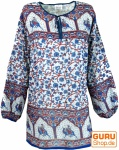 Leichte Hippie Bluse, Sommerbluse, Tunika, Damen Bluse, Langarm Bluse - blau/rot