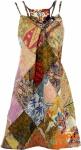 Minikleid, Patchworkkleid, Sommerkleid, Trägerkleid, kurzes Kleid - rosa/bunt
