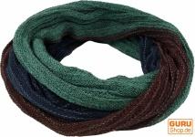 Weicher Loop Schal / Stola, Magic Loopschal, Weste - blau/grün/braun