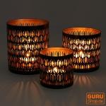 Filigranes orientalisches Metall Windlicht, Teelicht Leuchte mit fein gefrästem Design - Motiv 3