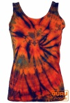 Farbenfrohes Goa-Batik Tanktop - orange/plum