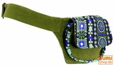 Bestickte Gürteltasche, Schultergurt, Ethno Sidebag - olivgrün