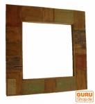 Spiegel, quadratisch, aus recyceltem Teakholz